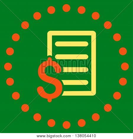 Contract vector icon. Style is bicolor flat circled symbol, orange and yellow colors, rounded angles, green background.
