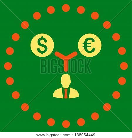 Currency Management vector icon. Style is bicolor flat circled symbol, orange and yellow colors, rounded angles, green background.