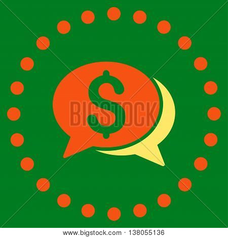 Financial Chat vector icon. Style is bicolor flat circled symbol, orange and yellow colors, rounded angles, green background.