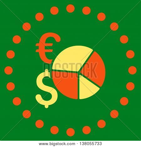 Financial Pie Chart vector icon. Style is bicolor flat circled symbol, orange and yellow colors, rounded angles, green background.