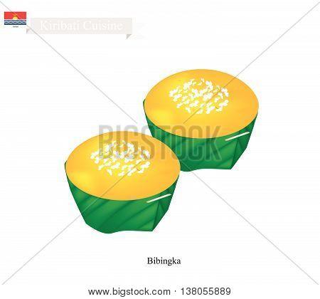 Kiribati Cuisine Bibingka or Rice Cakes Made with Ground Rice Coconut Milk Egg and Cheese. One of The Most Popular Dessert in Kiribati.