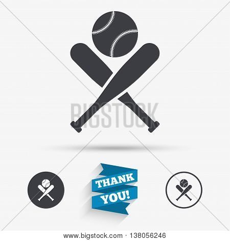 Baseball bats and ball sign icon. Sport hit equipment symbol. Flat icons. Buttons with icons. Thank you ribbon. Vector