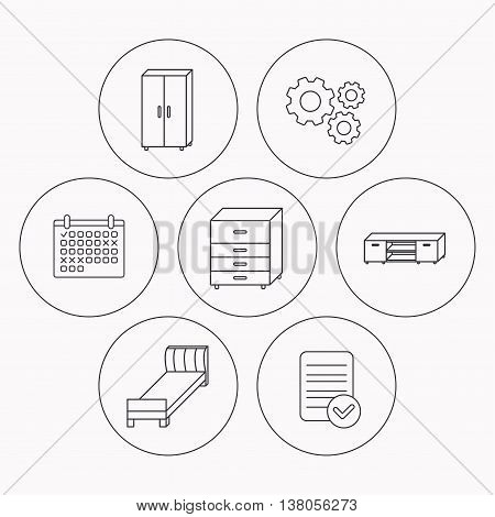 Single bed, TV table and cupboard icons. Chest of drawers linear sign. Check file, calendar and cogwheel icons. Vector