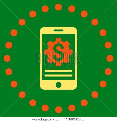 Mobile Bank Options vector icon. Style is bicolor flat circled symbol, orange and yellow colors, rounded angles, green background.