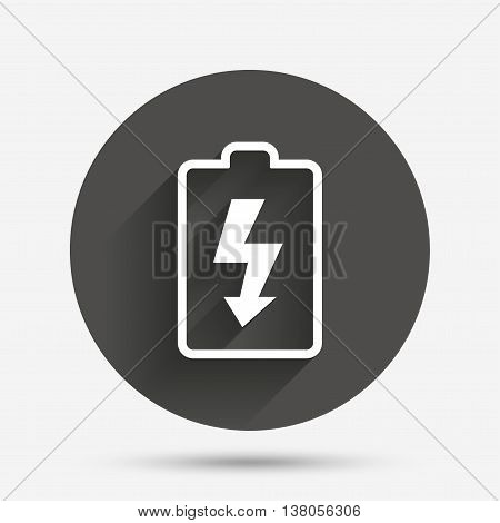 Battery charging sign icon. Lightning symbol. Circle flat button with shadow. Vector