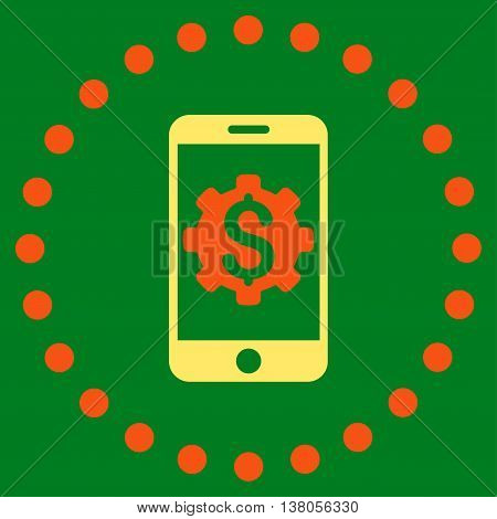Mobile Bank Setup vector icon. Style is bicolor flat circled symbol, orange and yellow colors, rounded angles, green background.