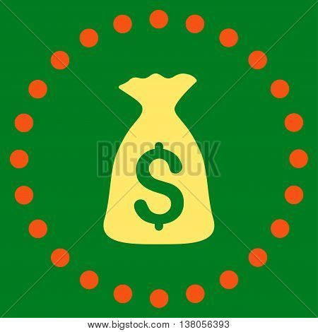 Money Bag vector icon. Style is bicolor flat circled symbol, orange and yellow colors, rounded angles, green background.