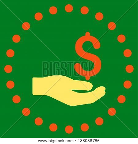 Payment vector icon. Style is bicolor flat circled symbol, orange and yellow colors, rounded angles, green background.