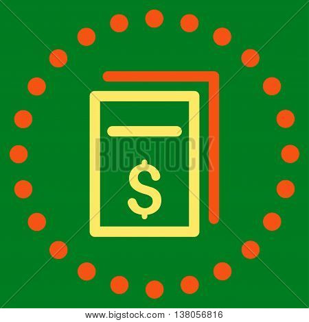 Price Copy vector icon. Style is bicolor flat circled symbol, orange and yellow colors, rounded angles, green background.