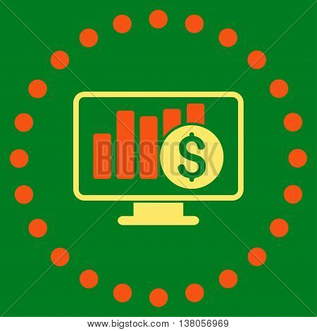 Stock Market Monitoring vector icon. Style is bicolor flat circled symbol, orange and yellow colors, rounded angles, green background.