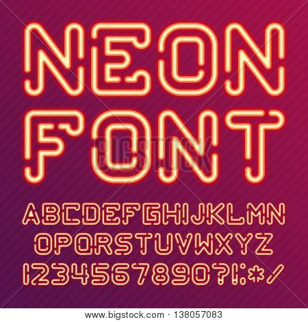 Neon Light Alphabet Vector Font. Type letters, numbers and punctuation marks. Neon tube letters on background.
