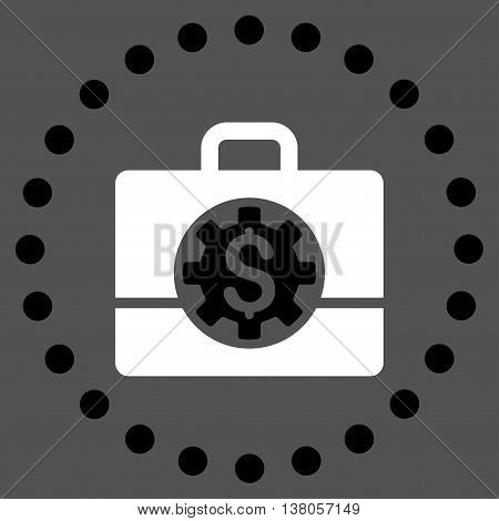 Bank Career Options vector icon. Style is bicolor flat circled symbol, black and white colors, rounded angles, gray background.