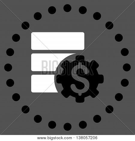 Bank Database Options vector icon. Style is bicolor flat circled symbol, black and white colors, rounded angles, gray background.