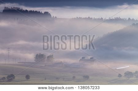 Misty morning in the mountains, mountain landscape