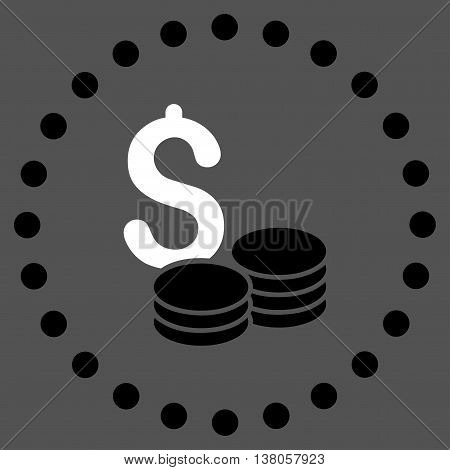 Dollar Cash vector icon. Style is bicolor flat circled symbol, black and white colors, rounded angles, gray background.