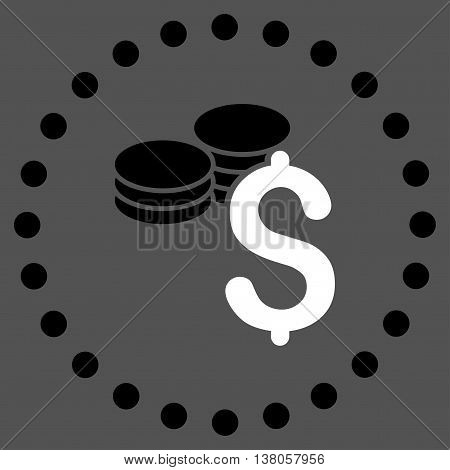 Dollar Coins vector icon. Style is bicolor flat circled symbol, black and white colors, rounded angles, gray background.