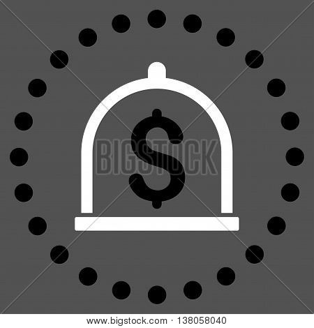 Dollar Deposit vector icon. Style is bicolor flat circled symbol, black and white colors, rounded angles, gray background.