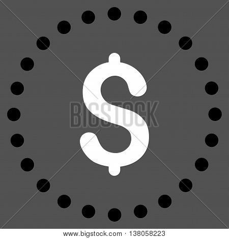 Dollar Symbol vector icon. Style is bicolor flat circled symbol, black and white colors, rounded angles, gray background.