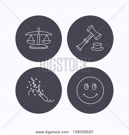 Scales of justice, auction hammer and slapstick icons. Smiling face linear sign. Flat icons in circle buttons on white background. Vector