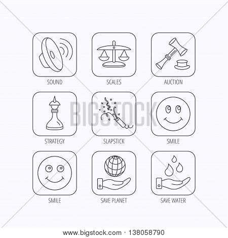 Scales of justice, auction hammer and strategy icons. Save planet and water linear signs. Smile, slapstick icons. Flat linear icons in squares on white background. Vector