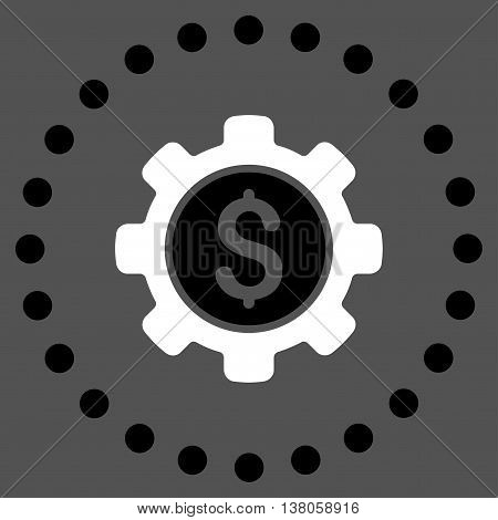 Financial Options vector icon. Style is bicolor flat circled symbol, black and white colors, rounded angles, gray background.