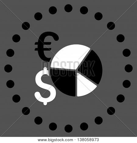 Financial Pie Chart vector icon. Style is bicolor flat circled symbol, black and white colors, rounded angles, gray background.