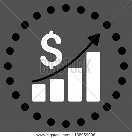 Financial Report vector icon. Style is bicolor flat circled symbol, black and white colors, rounded angles, gray background.