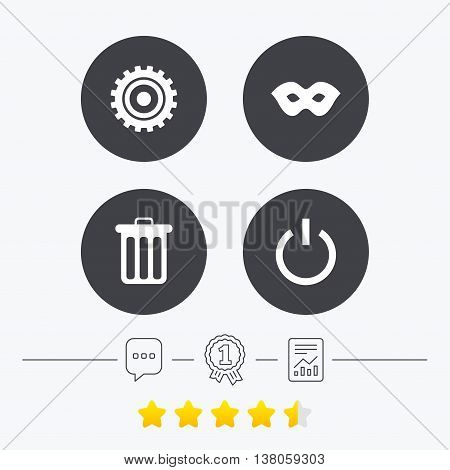 Anonymous mask and cogwheel gear icons. Recycle bin delete and power sign symbols. Chat, award medal and report linear icons. Star vote ranking. Vector