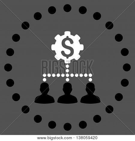 Industrial Bank Clients vector icon. Style is bicolor flat circled symbol, black and white colors, rounded angles, gray background.