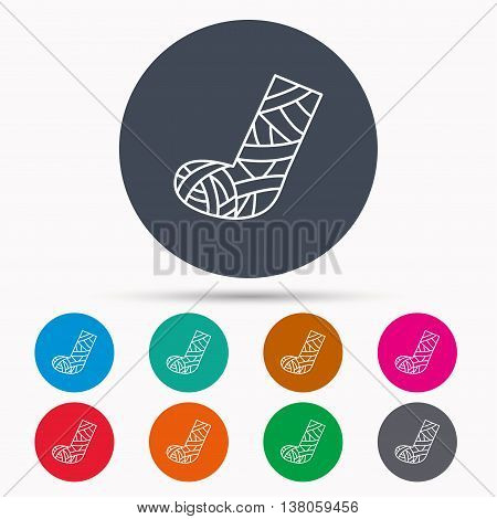 Gypsum or cast foot icon. Broken leg sign. Human recovery medicine symbol. Icons in colour circle buttons. Vector
