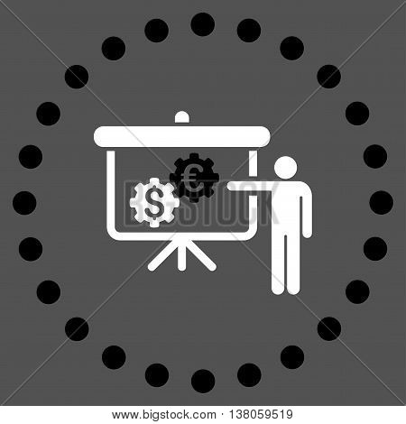 International Banking Project vector icon. Style is bicolor flat circled symbol, black and white colors, rounded angles, gray background.