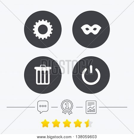 Anonymous mask and cogwheel gear icons. Recycle bin delete and power sign symbols. Chat, award medal and report linear icons. Star vote ranking. Vector poster