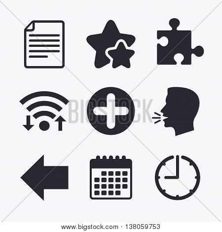 Plus add circle and puzzle piece icons. Document file and back arrow sign symbols. Wifi internet, favorite stars, calendar and clock. Talking head. Vector