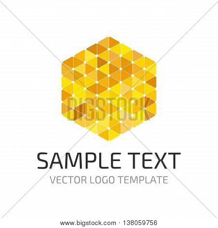 Vector logo template consisting of many yellow and orange triangles. Universal logo for your projects.