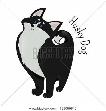 Husky isolated on white background. Sled-type of dog. Cross-breed of the fastest puppies. Alaskan Malamute. Part of series of cartoon northern animal species. Child fun pattern icon. Vector