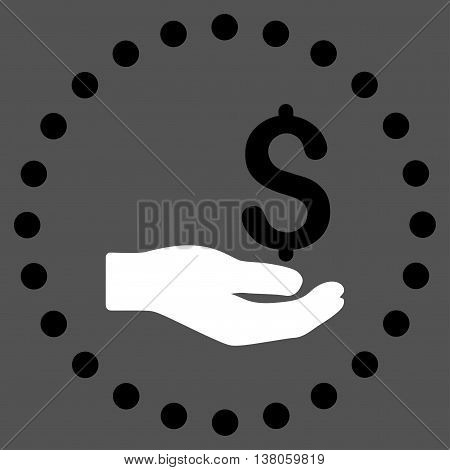 Payment vector icon. Style is bicolor flat circled symbol, black and white colors, rounded angles, gray background.