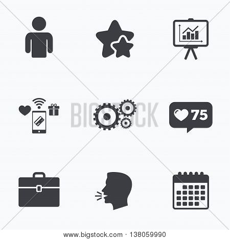 Business icons. Human silhouette and presentation board with charts signs. Case and gear symbols. Flat talking head, calendar icons. Stars, like counter icons. Vector