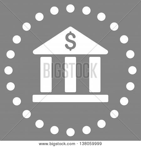 Bank Building vector icon. Style is flat circled symbol, white color, rounded angles, gray background.