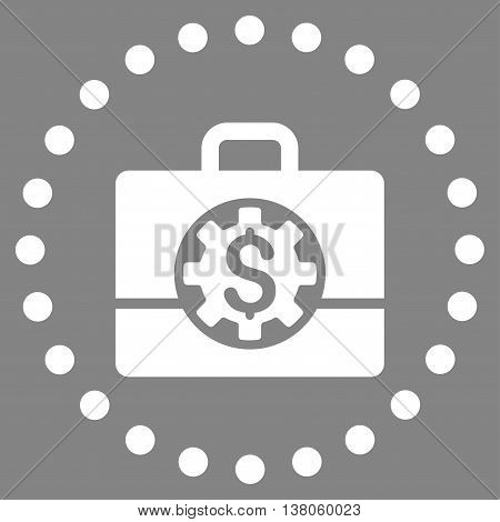 Bank Career Options vector icon. Style is flat circled symbol, white color, rounded angles, gray background.