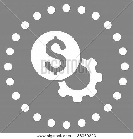 Development Cost vector icon. Style is flat circled symbol, white color, rounded angles, gray background.