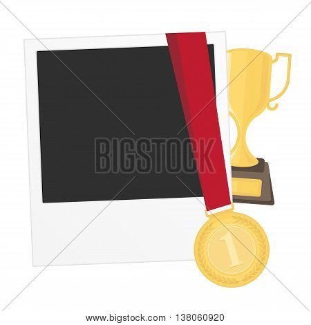 Vector photo frame template with medal and cup competition winner. Photo frame to win the competition. Gold medal on isolated background photo frames.