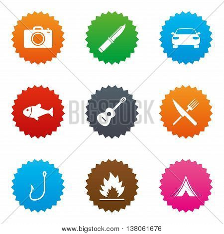 Camping travel icons. Fishing, campfire and tourist tent signs. Guitar music, fork and knife symbols. Stars label button with flat icons. Vector