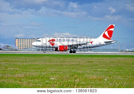 STPETERSBURG RUSSIA - MAY 11 2016. OK-MEK CSA Czech Airlines Airbus A319 airplane closeup. Airplane rides on the runway after landing in Pulkovo International airport in St Petersburg Russia