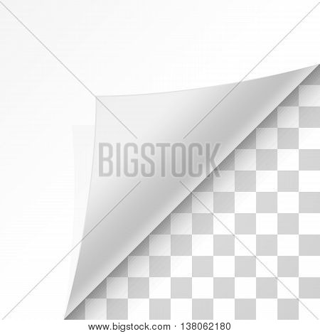 Page curl with shadow on blank sheet of paper. White paper sticker. Element for advertising and promotional message isolated on transparent background. Vector illustration for your design and business