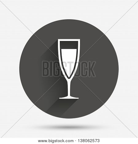 Glass of champagne sign icon. Sparkling wine. Celebration or banquet alcohol drink symbol. Circle flat button with shadow. Vector