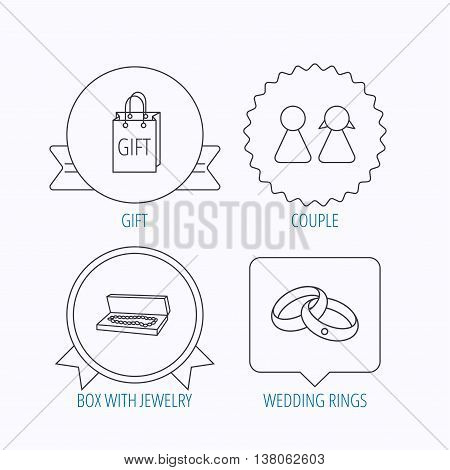 Couple, gift and wedding rings icons. Box with jewelry linear sign. Award medal, star label and speech bubble designs. Vector