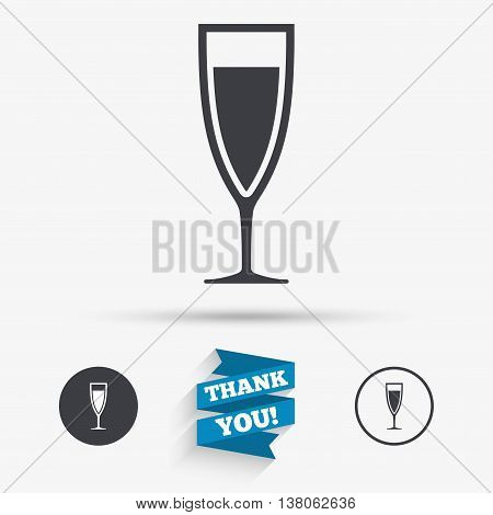 Glass of champagne sign icon. Sparkling wine. Celebration or banquet alcohol drink symbol. Flat icons. Buttons with icons. Thank you ribbon. Vector