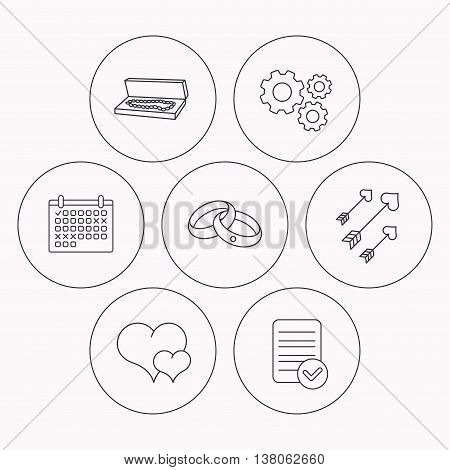 Love heart, jewelry and wedding rings icons. Arrows with hearts linear sign. Check file, calendar and cogwheel icons. Vector