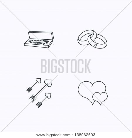Love heart, jewelry and wedding rings icons. Arrows with hearts linear sign. Flat linear icons on white background. Vector