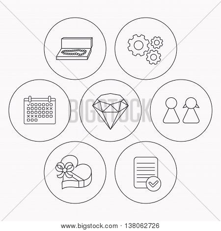 Brilliant, gift box and couple icons. Box with jewelry linear sign. Check file, calendar and cogwheel icons. Vector